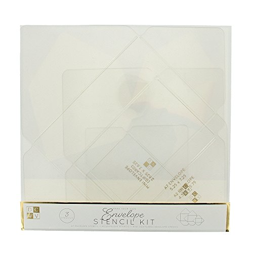 American Crafts DCWV Envelope Stencil Kit - for Standard Envelope Making, w/Pointed Flap - 3-Piece Clear Plastic Templates