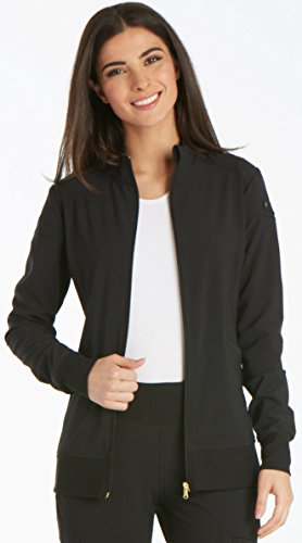 Cherokee Women's Iflex Zip Front Warm-up Jacket, Black, M (Scrub Zip Front Jacket)