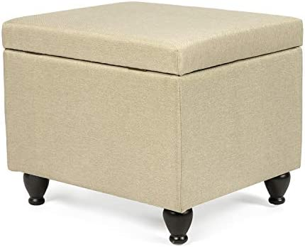 Homebeez Storage Ottoman Footrest Stool Fabric Rectangular Bench
