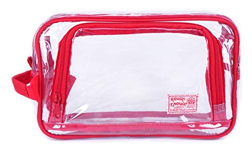 (Rough Enough TSA Approved Gym Toiletry Bag Clear Makeup Case Transparent Cosmetic Organizer Bathroom Travel Accessories Storage Pouch with Handle Zipper for Sport Women Student Outdoor Trip Hotel)