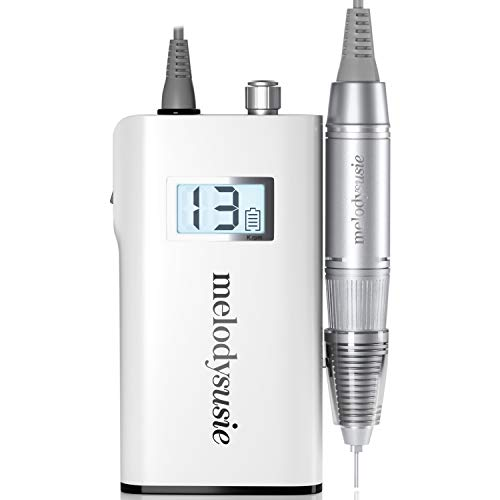 MelodySusie Professional Rechargeable 30000 rpm Nail Drill, Portable Electric E File Scamander, Acrylic Gel Grinder Tools with 6 Bits and Sanding Bands for Manicure Pedicure Shape Carve Polish, White (Best Portable E Nail)