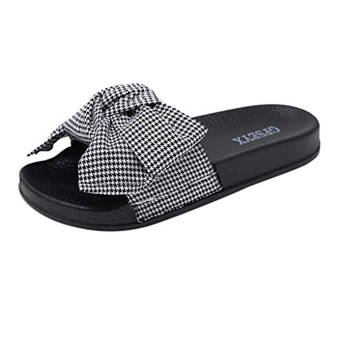 Sandals for Women, ✔ Hypothesis_X ☎ Bow Knot Slippers Casual Home Slippers Beach Shoes Summer Open Toe Slide Slippers White ()