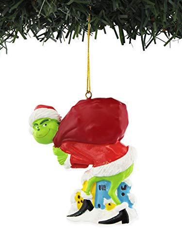 Kurt Adler The Grinch with Ornament for Personalization Resin Home Decor