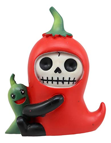 Ebros Furrybones Chilito Hot Red Chili Pepper Figurine Small 3.25 Inch Furry Bones Skeleton Monster Collectible Decor Statue Gothic DOD Mexican Spice Jalapeno Themed Decorative Sculpture