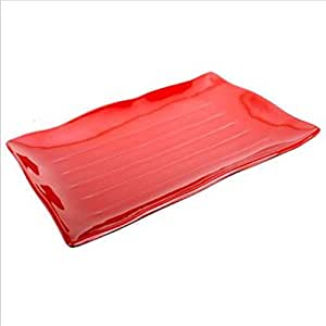 12X Red Teriyaki Sushi Plate 13.25X9In