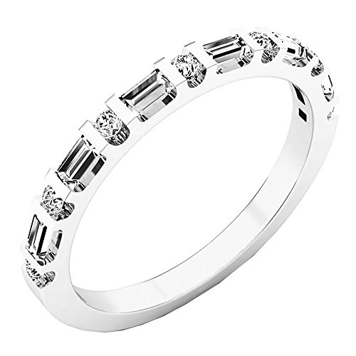 Dazzlingrock Collection 0.33 Carat (ctw) 14K Round & Baguette Diamond Ladies Wedding Band 1/3 CT, White Gold, Size 5.5