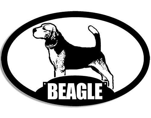 Beagle Dog Sticker - JR Studio 3x5 inch Oval Beagle Silhouette Sticker (Dog Breed) Vinyl Decal Sticker Car Waterproof Car Decal Bumper Sticker