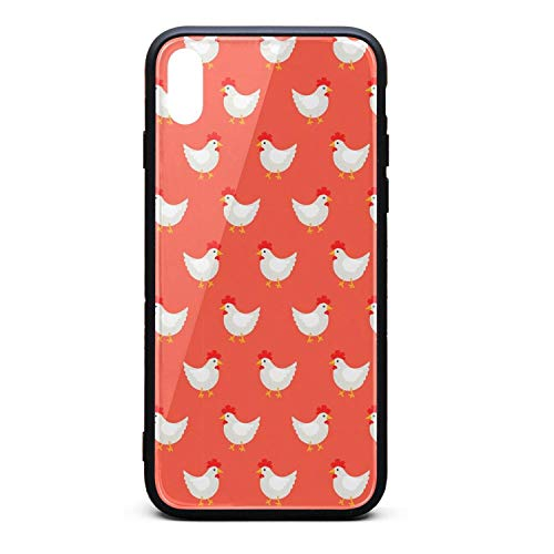 Phonerebey iPhone Xs Max Case,Red Rooster Decor Art Anti-Scratch Shockproof Slim Cover Case Compatible with Apple iPhone Xs Max Case,TPU and Tempered Glass
