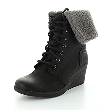 Amazon Com Ugg Women S Zea Black Leather Boot Ankle