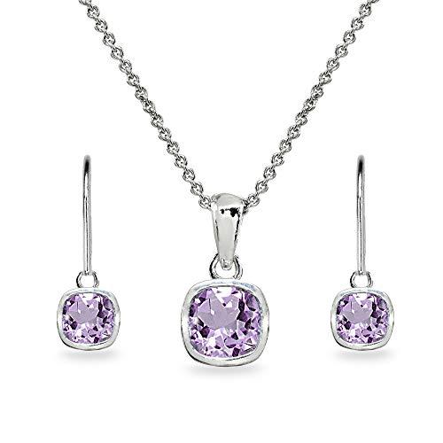 Sterling Silver Amethyst Cushion-Cut Bezel-Set Pendant Necklace & Dangle Leverback Earrings Set