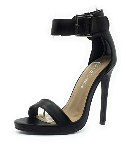 Sexy Open Toe Pump Shoes -Cross Strap Party Dress Platfoms Ankle Strap Dress High Heels Stilettos Black PU 10 -