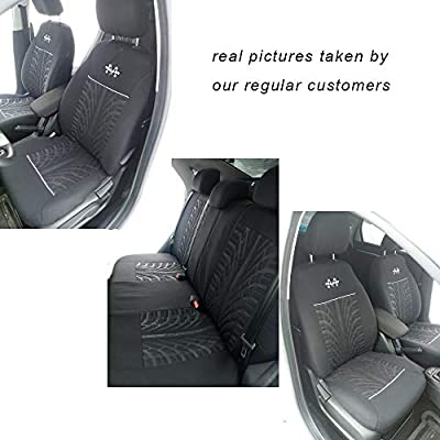 AUTOFAN Audel Universal Full Set Fabric Car Seat Covers Embossed Cloth Car Seat Protector(Airbag Compatible Anti-Slip): Automotive