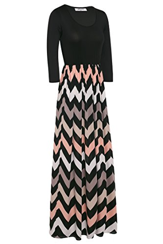 Womens Chevron 3 Dress Maxi Color Contrast Casual Sleeve 4 Striped ANGVNS Black Fashion Hq6dEz