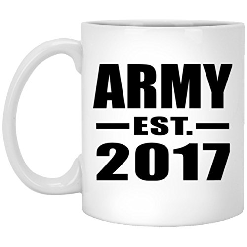Designsify Army Established EST. 2017-11 Oz Coffee Mug, Ceramic Cup, Best Gift for Birthday, Wedding Anniversary, New Year, Valentine's Day, Easter, Mother's/Father's Day by Designsify