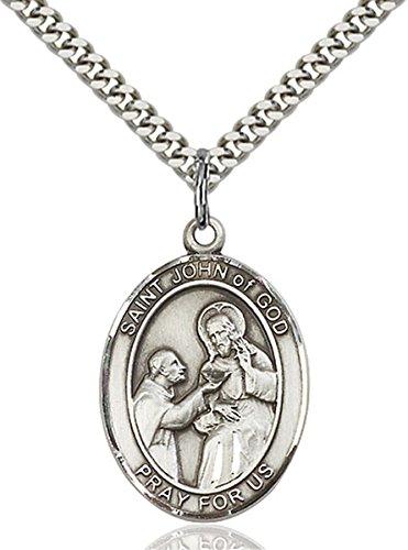 (bliss Sterling Silver Saint John of God Medal Pendant, 1)