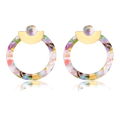 Colorful Resin Hoop Earrings for Women Bohemian Statement Acrylic Earrings Mottled Lucite Stud Earrings for Girls Multicolored Fashion Jewelry (Floral)