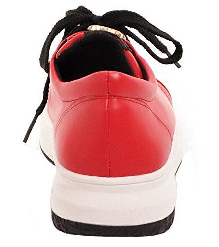 toe Round Blonder sko Voguezone009 Kvinners Pumper Lave Røde Pu Hæler up Solid wqYSqF