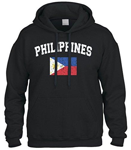 Cybertela Faded Distressed Philippines Flag Sweatshirt Hoodie Hoody (Black, Large)