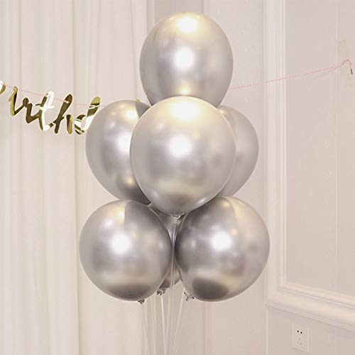 COLORFUL ELVES Silver Metallic Chrome Latex Balloons 12 Inch Happy Birthday Baby Showers Bridal Shower Weddings Bachelorette Party Decorations 50 -
