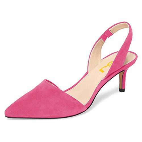 FSJ Women Fashion Low Kitten Heels Pumps Pointed Toe Slingback Sandals Dress Shoes Size 10 Hot Pink (Pump Slingback Pointed Toe Shoes)