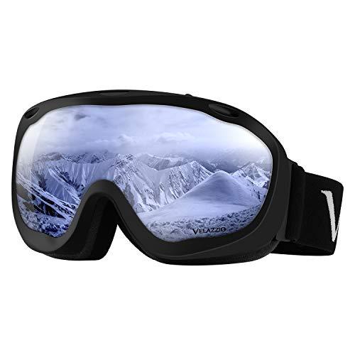 VELAZZIO Ski Goggles, Snowboard Goggles - Spherical Double Layer Anti-Fog 100% UV Protective Lens, Hydrophobic and Oleophobic Coating, Helmet Compatible, Medium Fit Snow Sports Goggles Men & Women