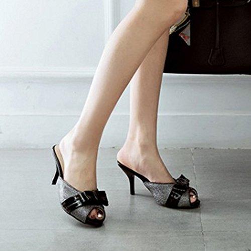 Noir Chaussures Toe Talons Sandales Enfiler Femmes Bowknot A Peep Mode Aiguille Hauts Slide RAZAMAZA 4qTPOwW