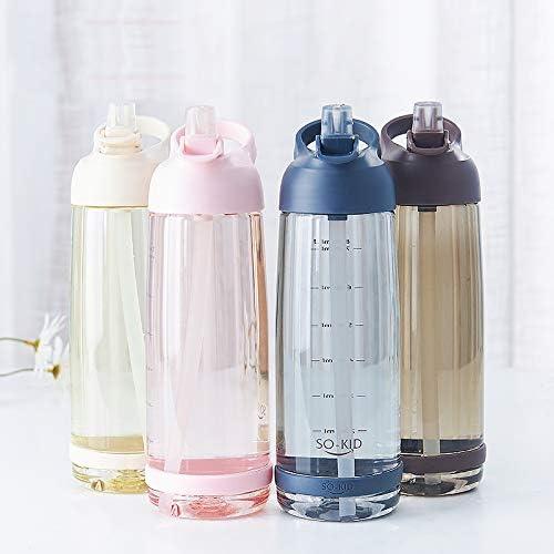 Generies 1000Ml Outdoor Wasserflasche Mit Stroh Sportflaschen Umweltfreundlich Mit Deckel Wandern Camping Plastik Wasserflaschen