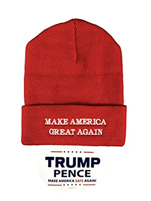 Donald Trump Make America Great Again Beanie Hat with Free Bumper Sticker - Made in the USA