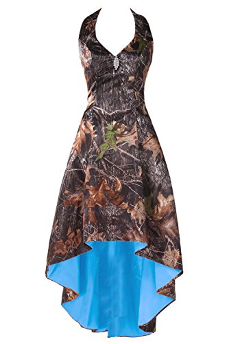 DressyMe Women's High Low Camo Wedding Party Dresses Halter Military Ball Gown-26W-Camo&Blue