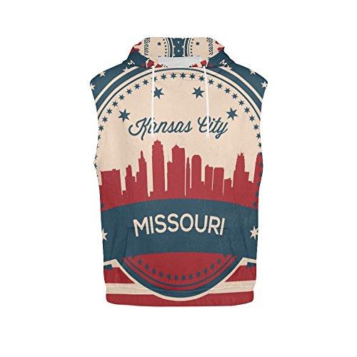 Vintage American Flag Missouri State Kansas Skyline Women's 3D Printed Sleeveless Hoodie