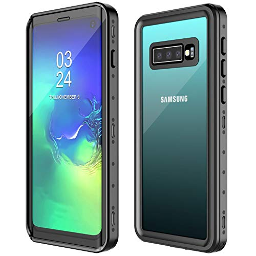 Samsung Galaxy S10 Waterproof Case, POTALUX S10 Case Built in Screen Protector 360° Full Body Protective Shockproof Dirtproof IP68 Underwater Waterproof Case for Samsung S10 6.1inch (Black/Clear Back)