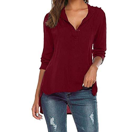 Rouge V Spcial Blouse Uni Bouffant Button Tops Cou Style Manches Casual Branch Printemps Blouse lgant Chemise Longues Haut Femme Manche Irrgulier Mode R7cx1wqC0