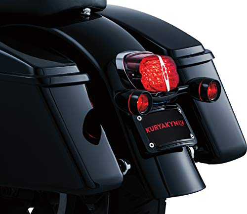 - Kuryakyn 5405 Motorcycle Lighting: Rear Position Bullet Style Turn Signal/Blinker Light Bar with Red Lenses and Flat License Plate Support for 1986-2019 Harley-Davidson Motorcycles, Gloss Black