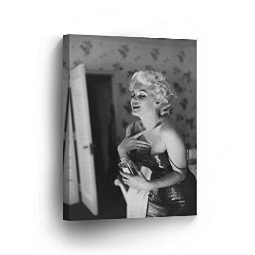 Marilyn Monroe Wearing Perfume Canvas Print Black and White Decorative Art Modern Wall Décor Artwork Wrapped Wood Stretcher Bars Vertical - Ready to Hang - %100 Handmade in the USA 12x8