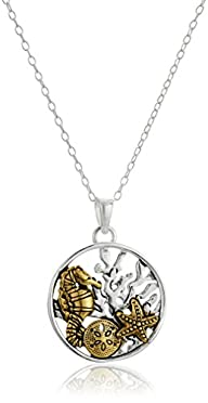 Sterling Silver Two Tone Sea Life Pendant Enhancer, 18″