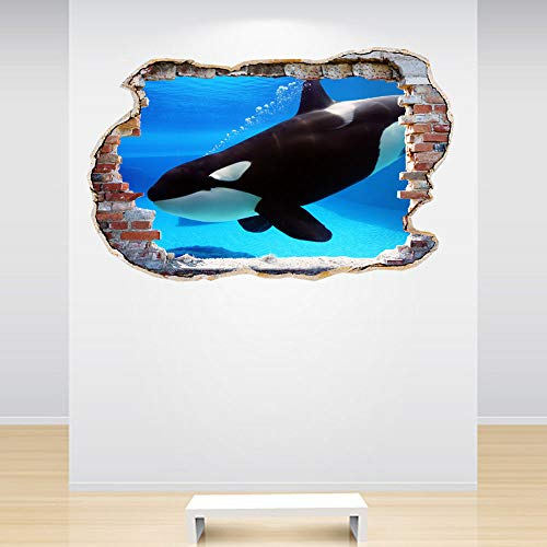 Full Colour Orca Whale Smashed Wall 3D Effect Under The Sea Aquarium Ocean Bedroom Wall Sticker Decal Kids Bedroom Decor