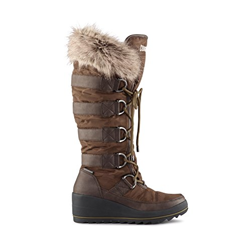 Cougar Women's Lancaster Wedge Snow Boot,Dark Brown Nova Nylon,US 11 M by Cougar