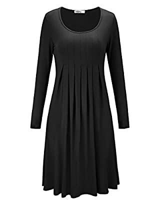 STYLEWORD Women's Long Sleeve Pleated Loose Swing Casual Dress