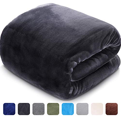 LEISURE TOWN Soft Blanket King Size All Season Fleece Blankets Lightweight Warm Luxury Cozy Plush Throw Blanket for Sofa Bed Couch, 108 by 90 Inches, Dark Grey