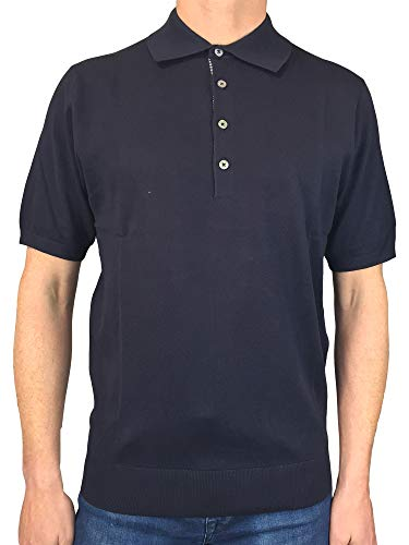 Paul Smith Mens Short Sleeved Fitted Knit Polo Shirt in Navy Blue XXL
