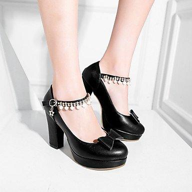 5 Rose7 Habillé black ggx LvYuan Eté Escarpin Basique amp; Noir Basique à Talons Evénement Chaussures Noeud Femme Similicuir Soirée Escarpin Talon Beige Gros Awz1qR
