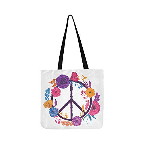 Hippie Peace Symbol With Flowers Leaves And Buds Canvas Tote Handbag Shoulder Bag Crossbody Bags Purses For Men And Women Shopping Tote -