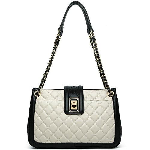 ANA LUBLIN Women Lamb Leather Fashion Handbag Quilting Lady Purse Crossbody Shoulder Bag White