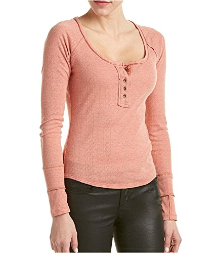 Free People Womens Sugar and Spice Lightweight T-Shirt Henley Top Pink XS