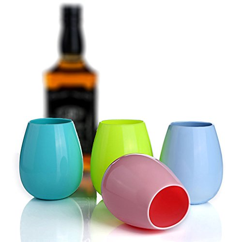 JYPC Silicone Wine Glasses Unbreakable Stemless Foldable Rubber Wine Cups for Traveling Camping Picnic Outdoor - Multicolor 12 oz (Set of 4)