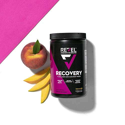 Revel Recovery for Women | BCAA Plus Collagen Powder | Essential Amino Acids and Coconut Water | Nutritional Supplement | Promote Energy Recovery Hydration | 30 Servings (Peach Mango)