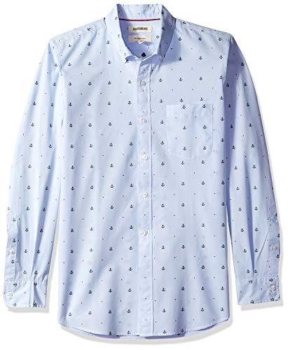 Goodthreads Men's Slim-Fit Long-Sleeve Dobby Shirt, -light blue anchor, X-Large