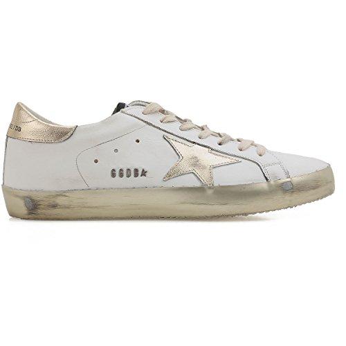 Golden Goose Mens Superstar Guld Vintage Låg Topp Läder Mode Sneakers G30ms590 E37 (storlek Eu 42)
