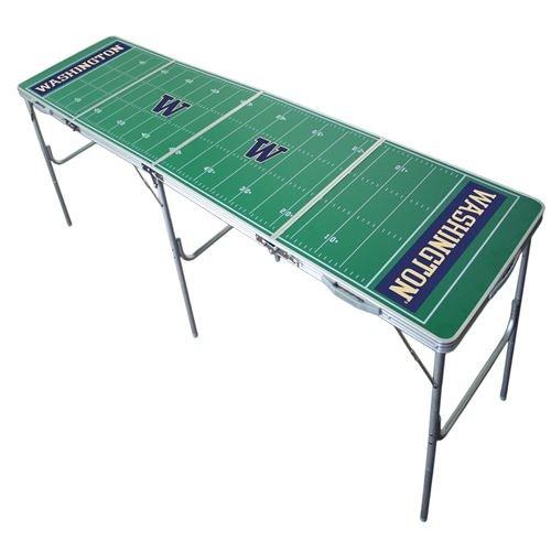 Washington Huskies Tailgate Table, NCAA Football Tailgating, 2x8, 8ft, Aluminum, Lightweight, Portable
