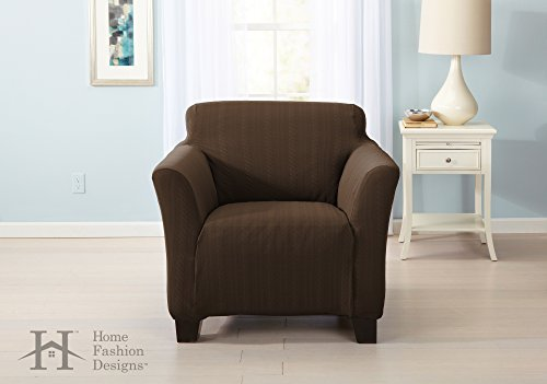 Home Fashion Designs Form Fit, Slip Resistant, Stylish Furniture Shield/Protector with Cable Knit Fabric. Darla Collection Platinum Strapless Slipcover Brand. (Chair, ()